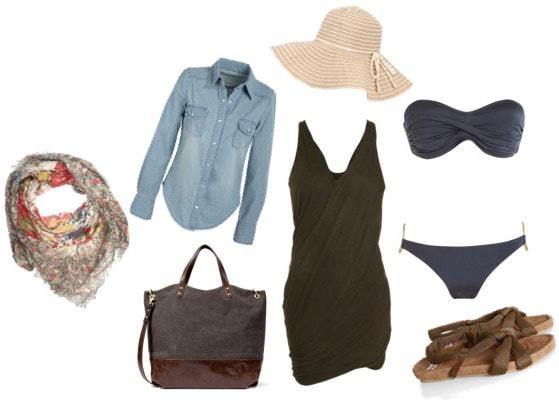 Beach outfit - Black dress, bikini, beach hat, and chambray shirt