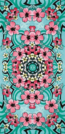 Green and pink beach towel with flowers