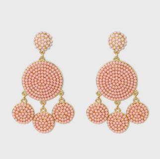 Light pink beaded drop earrings