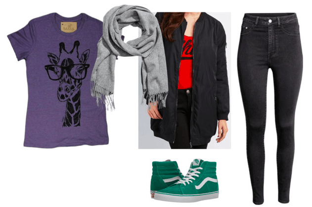 purple giraffe t-shirt gray scarf black bomber jacket black jeans green sneakers teen titans casual cosplay teen titans beast boy outfit