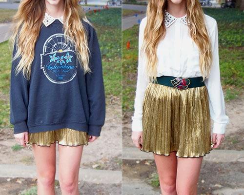 collared shirt, metallic skirt
