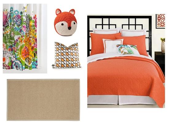 orange and neutrals interior design