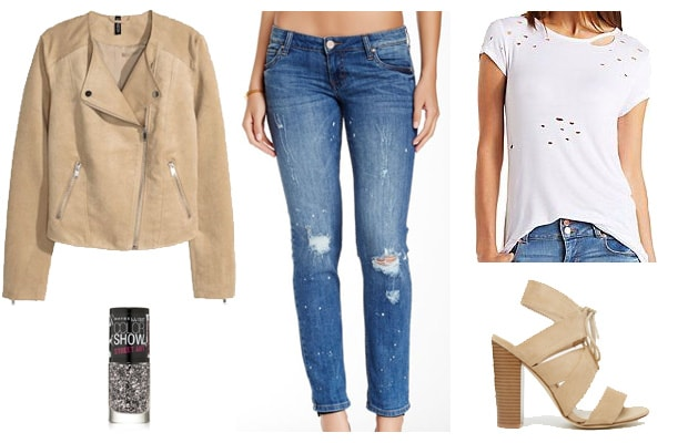 Beige biker jacket with distressed jeans outfit
