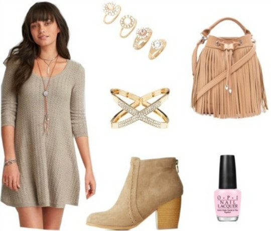 Sweater dress outfit with  booties