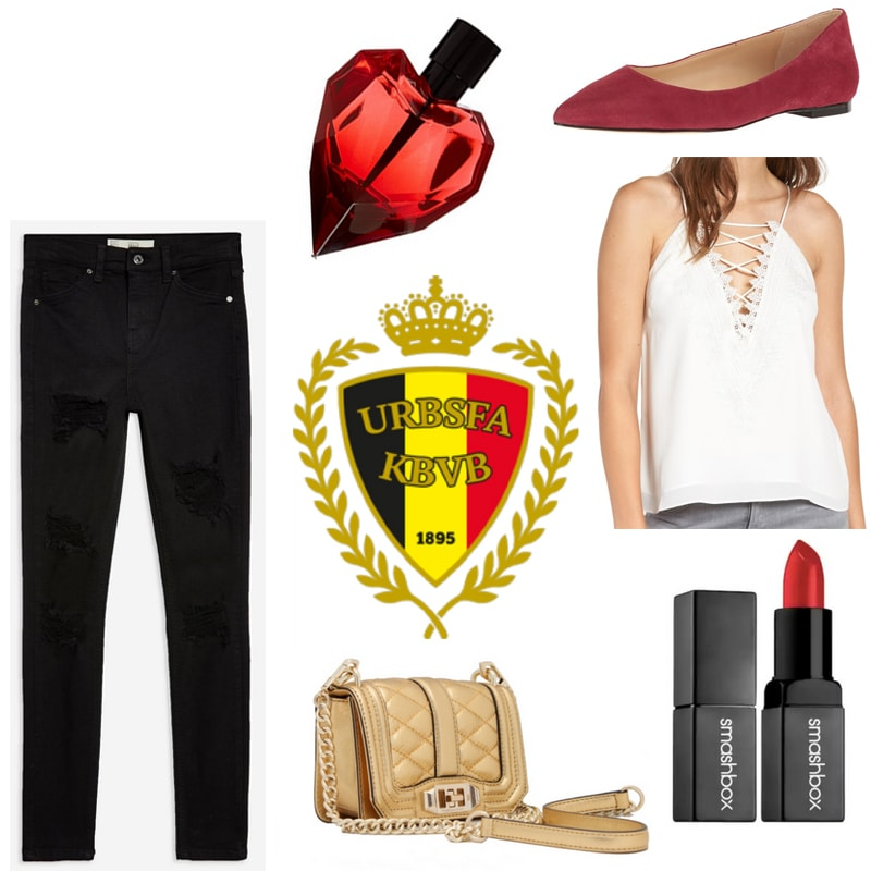 World Cup outfit inspired by Belgium: Black jeans, white lace-up cami, red flats, red lipstick, heart perfume, gold bag