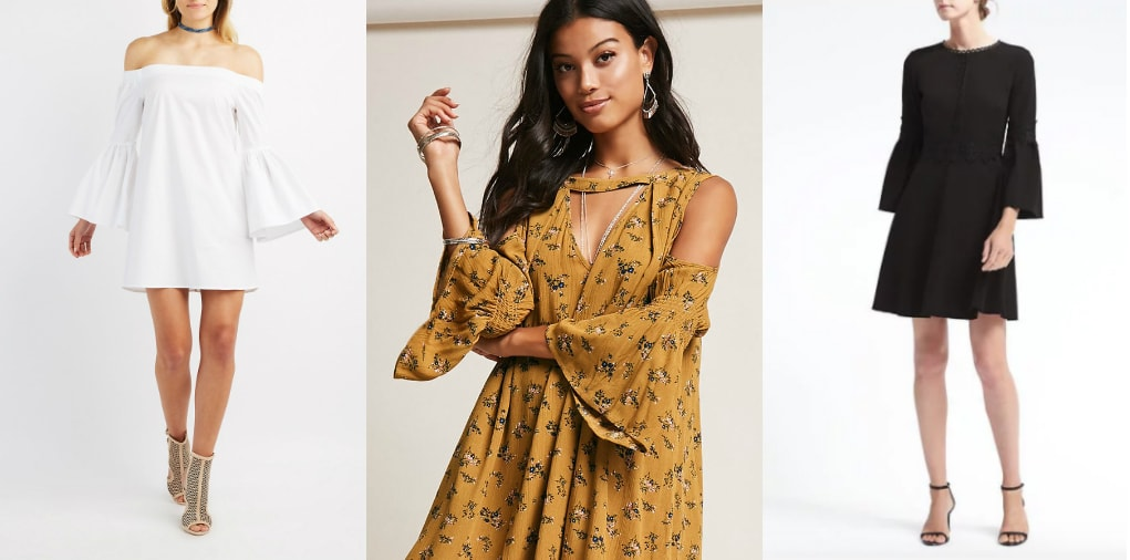 From left to right: an off-the-shoulder white minidress from Charlotte Russe, a mustard print boho dress from Forever 21 with shoulder cutouts, and a tailored little black dress with 3/4 length bell sleeves from Banana Republic.