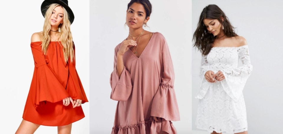 From left to right: a bold orange fluted-sleeve flowy shift dress from Boohoo, a pale pink bohemian ruffled bell-sleeve dress from Urban Outfitters, and a delicate white lace fluted sleeve off-the-shoulder mini dress from ASOS.
