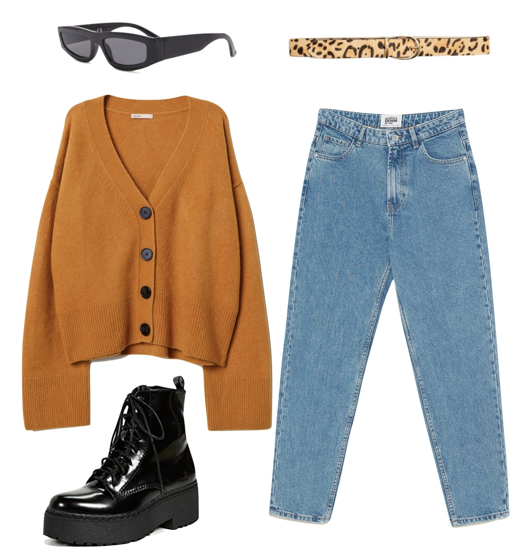 Bella Hadid Outfit: mustard yellow cardigan sweater, blue mom jeans, leopard print belt, thick rectangular sunglasses, and black platform combat boots