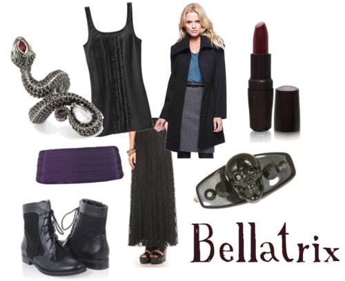 Outfit inspired by Bellatrix Lestrange's style in Harry Potter and the Deathly Hallows Part 1
