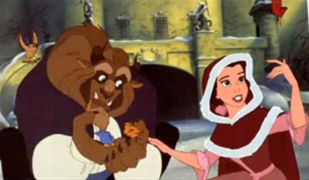 Beauty and the Beast snow scene with Belle and the Beast