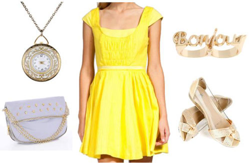 Gold casual outfit inspired by Walt Disney's Belle from Beauty and the Beast
