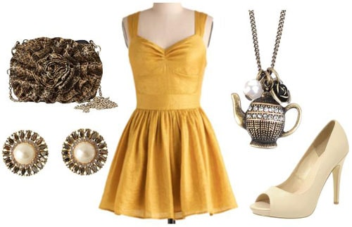 Gold formal outfit inspired by Walt Disney's Belle from Beauty and the Beast