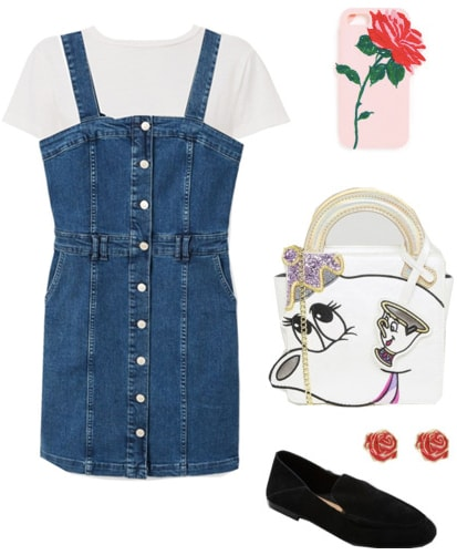 Disney outfit inspired by Belle from Beauty and the Beast: Blue denim overall dress, white tee shirt, black flats, Mrs Potts purse, rose earrings, rose phone case