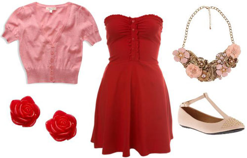 Red casual outfit inspired by Walt Disney's Belle from Beauty and the Beast