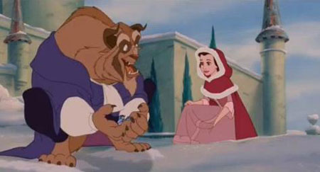 Walt Disney's Belle from Beauty and the Beast in the snow