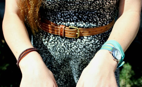 Belted dress, colorful wristwatch and Fitbit