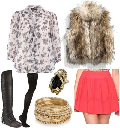 Outfit inspired by Bensoni Fall 2011 - Pink skirt, patterned blouse, fur vest, black boots