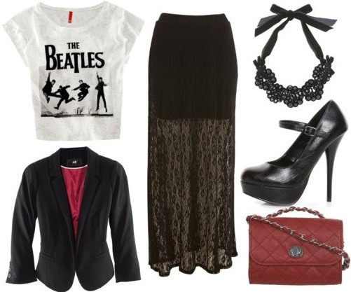 Outfit inspired by Bensoni Fall 2011 - Black maxi skirt, graphic tee, black blazer, mary-jane heels