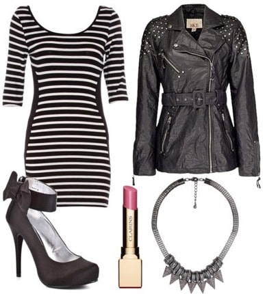 Outfit inspired by Bensoni Fall 2011 - Striped dress, leather moto jacket, bow heels, statement necklace