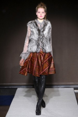 Bensoni Pattern Skirt with Fur Vest and Leather Leggings