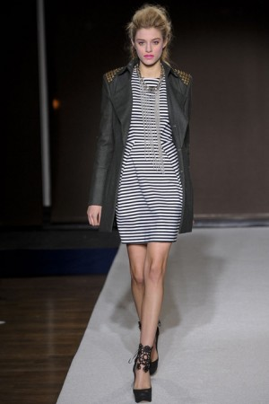 Bensoni striped dress with studded leather jacket