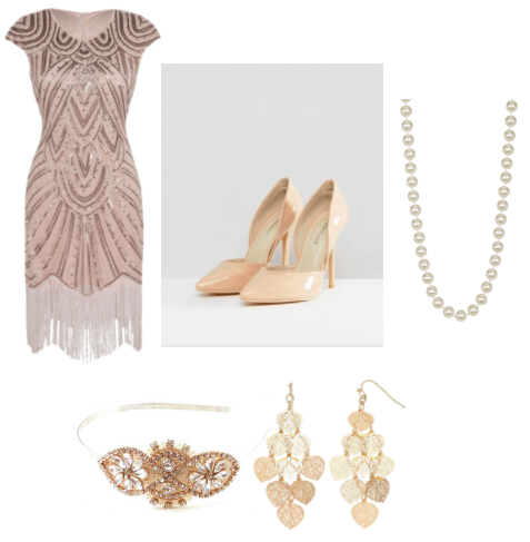 Rose gold sequin embellished fringe flapper dress, peach pumps, a strand of pearls, a gold sparkly embellished crystal headband, and gold filigree dangling earrings