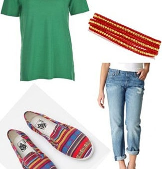 Outfit inspired by your guy best friend: Loose tee shirt, boyfriend jeans, slip-ons, easy wrap bracelet