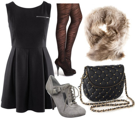 Outfit inspired by Betsey Johnson Fall 2011 - Black dress, grey ankle booties, zebra tights