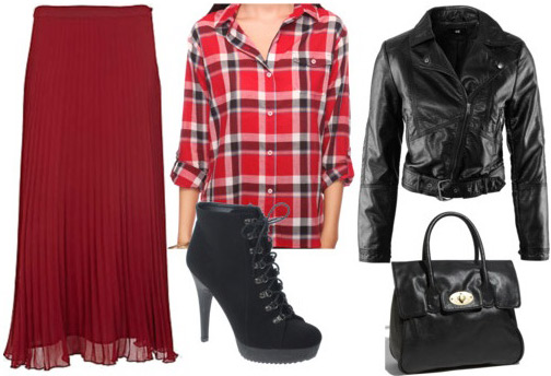 Outfit inspired by Betsey Johnson Fall 2011 - Red maxi skirt, plaid shirt, leather jacket, ankle booties