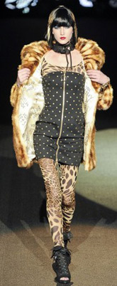 Betsey Johnson Fall 2011 - Studded dress and leopard jacket