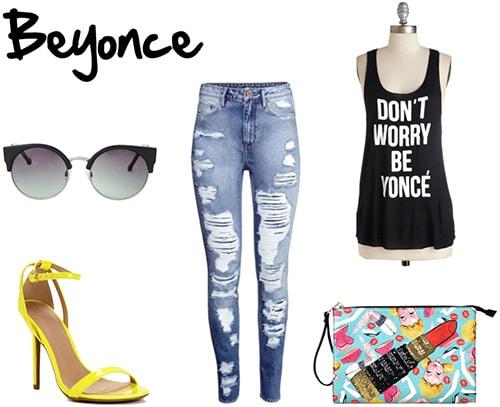 Outfit inspired by Beyonce: Ripped jeans, colorful clutch, Don't Worry Be Yonce tank, yellow heels