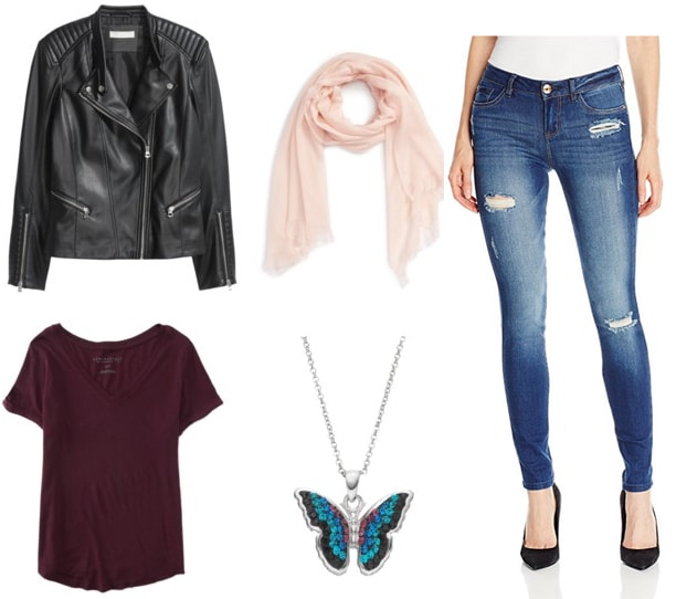 Outfit idea: Beyonce meets Katy Perry with a leather jacket, burgundy tee, ripped skinnies, and a pink scarf