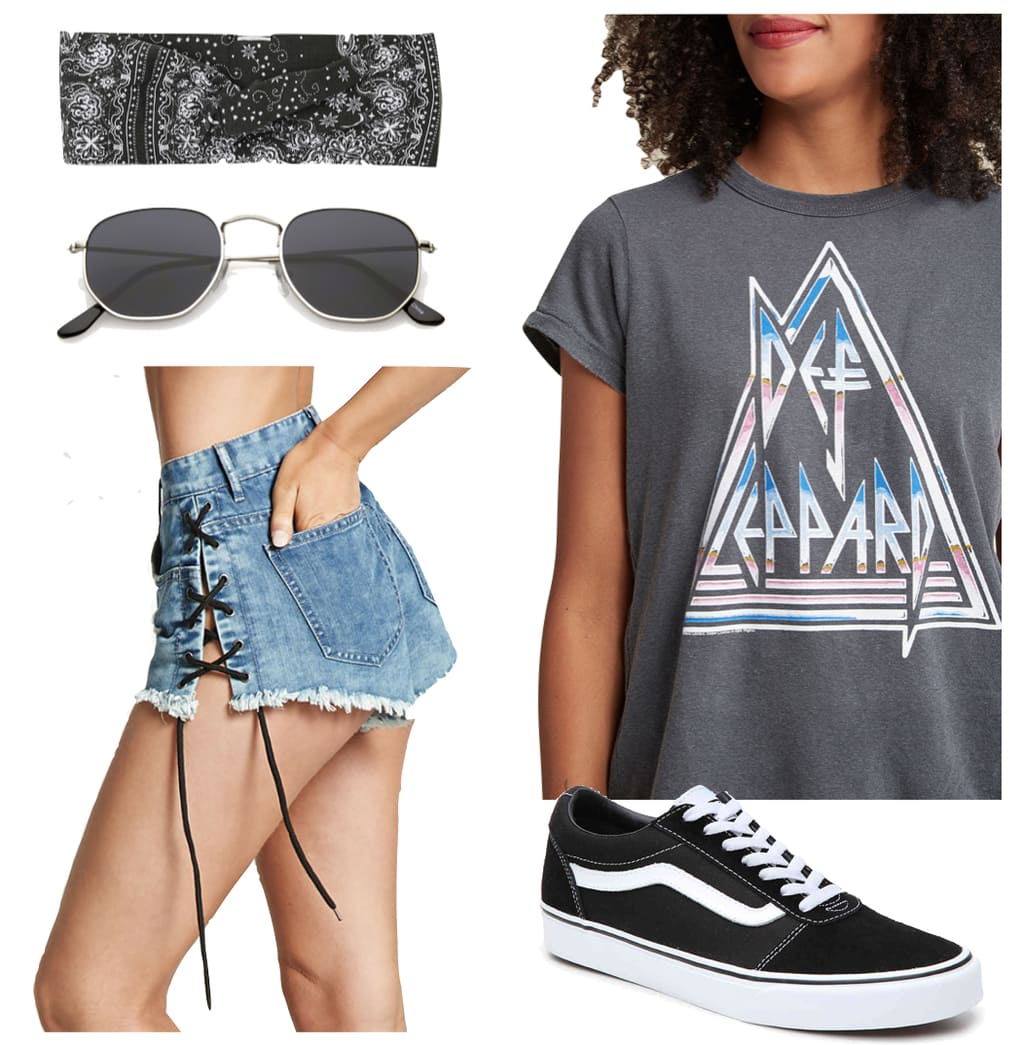 Beyonce Outfit: gray band t-shirt, denim lace-up side shorts, metal hexagon sunglasses, patterned head scarf, black Vans low-top sneakers