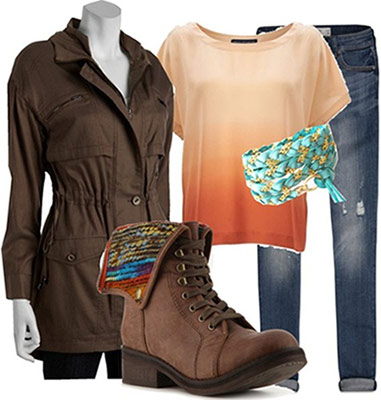 BFF outfit: Basic jeans, ombre tee, friendship bracelet, comfy fall boots, classic brown trench