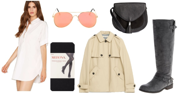 Outfit inspired by Bigby Wolf from The Wolf Among Us video game: Trench coat, shirtdress, pink aviators, knee high boots