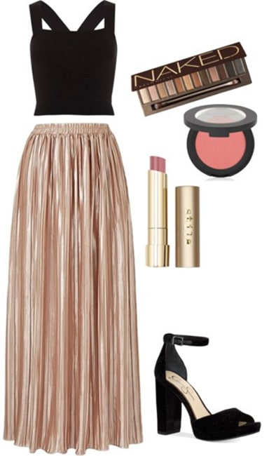 Billie Lourd at a GLSEN event: Pleated skirt paired with a black crop top and black heels. Makeup includes eyeshadow, blush and lipstick.