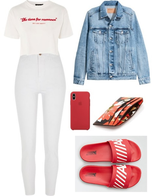 Billie Lourd white jeans outfit at Bed Bath and Beyond: White jeans paired with a white t-shirt and denim jacket. Accessories include slide sandals, a red phone case and a cardholder wallet.