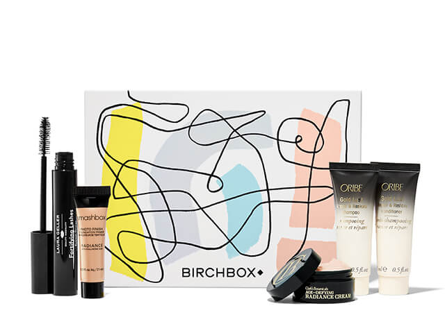 January Birchbox including: Mascara, Smashbox concealer, radiance cream, and Oribe cream.