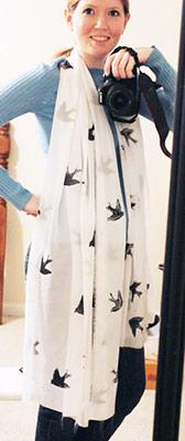 Bird stamped scarf