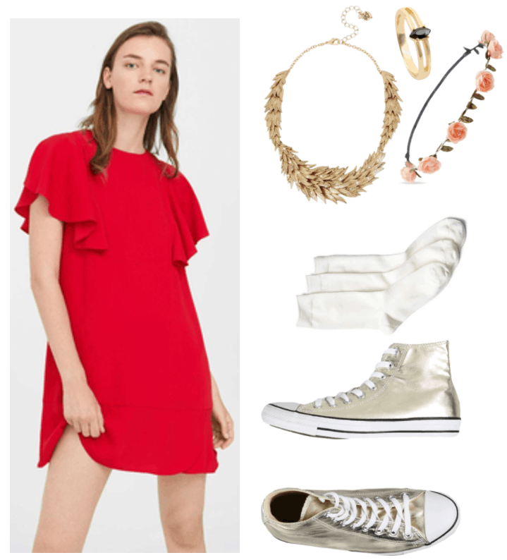 "Fashion Inspired by Music Videos: ""Wings,"" by Birdy--Outfit #1 featuring short red dress with ruffled sleeves, gold ""feathers"" statement necklace with small clear crystal accents, gold ring with cutouts in the front and black marquis-cut stone, pale pink rose flower crown, off-white crew socks, metallic gold Converse high-top sneakers"