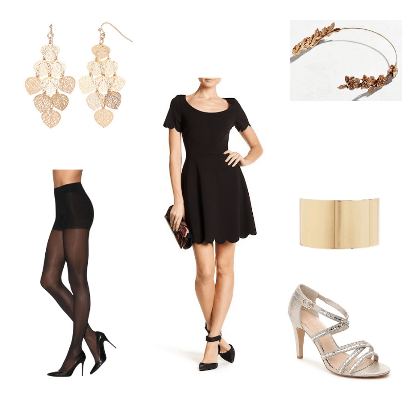 Outfit with scalloped black dress, tights, gold heels, gold cuff, gold headband, and dangly gold earrings