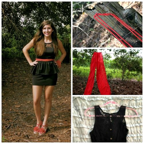 Black and red school colors outfit