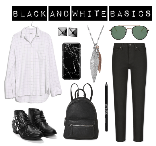 White button-down, stud earrings, studded boots, phone case, leather backpack, pendant necklace, black liner, black jeans, dark sunglasses