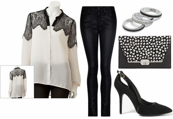 Black and white outfit- lace panel top, coated jeans, printed clutch