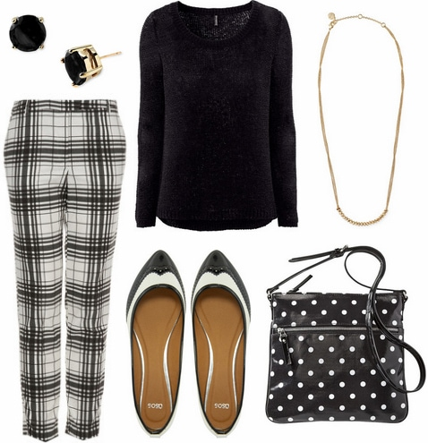Black and white outfit- checked pants, black sweater, polka dot bag