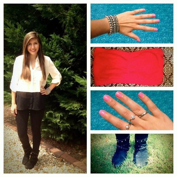 Black and white outfit high low top, jeggings, boots