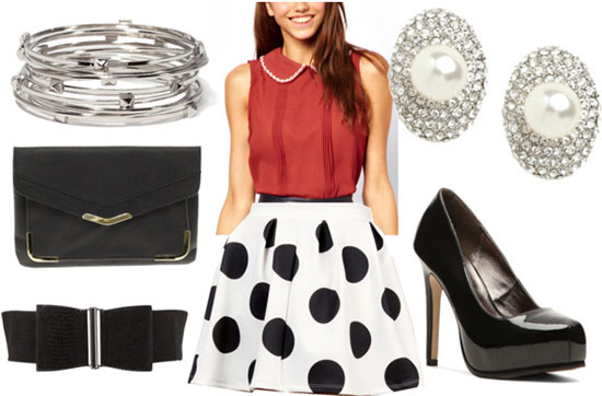 Black and white skirt night outfit