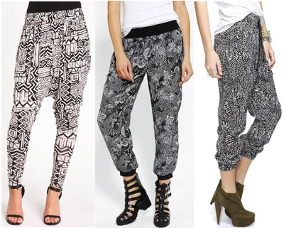 Black and white slouchy pants