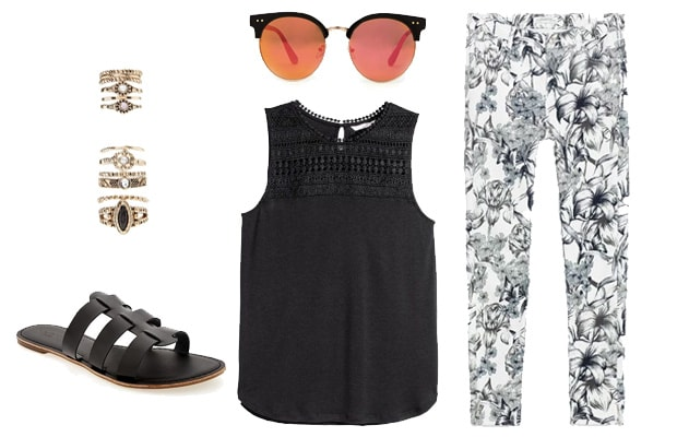 Black and white tropical print pants spring outfit