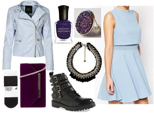 Baby blue dress with black and purple accessories